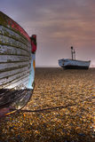 Fishing Boats. At Aldeburgh on a shingle beach stock image