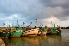 Fishing boats. A pack of fishing boats at dusk Royalty Free Stock Photography