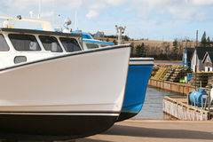 Fishing Boats. Ready to put in the water at the beginning of fishing season stock photo