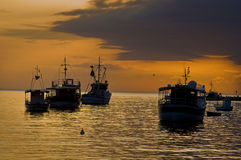 Fishing boats. Arriving to a port in the evening Royalty Free Stock Images