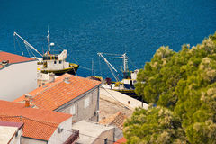Fishing boats aerial view in Novigrad Dalmatinski Stock Photos