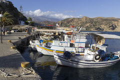 Fishing boats in Agia Galini Stock Images
