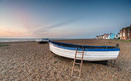 Fishing Boats at Aldeburgh. Sunrise on the beach at Aldeburgh on the Suffolk coast Royalty Free Stock Image