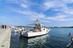 Fishing boats in Alibey Cunda Island Balikesir Turkey. Cunda Island, also called Alibey Island is Royalty Free Stock Photography