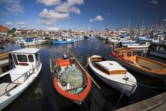 Fishing Boats All Over. Fishing Boats Moored in Gilleleje, Denmark Royalty Free Stock Photography