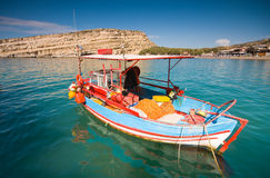 Fishing boats anchored in Matala bay, Crete, Greec Royalty Free Stock Photo