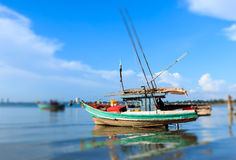 Fishing boats anchored near the shore Stock Photography