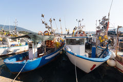 Fishing boats anchored at the port Royalty Free Stock Image