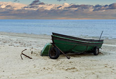 Fishing boats anchored on sandy Beach of the Baltic Sea Stock Images
