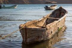 Fishing boats anchored in Taganga bay. Sunrise scene with fishing boats anchored in Taganga bay. Colombia 2014 Stock Photography