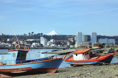 Fishing boats in the Angelmó in chile Stock Photo
