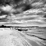 Fishing boats. Artistic look in black and white. Royalty Free Stock Images