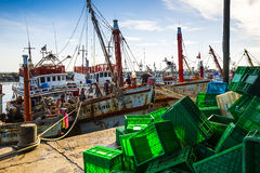 Fishing boats ashore. In countryside of Thailand Stock Photography