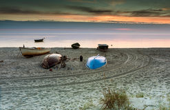 Fishing boats at the Baltic beach Stock Photography