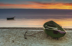 Fishing boats at the Baltic beach Stock Photos
