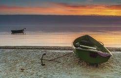 Fishing boats at the Baltic beach Stock Photos