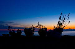 Fishing Boats at Baltic Sea Coast. Royalty Free Stock Photo