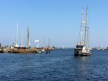 Fishing Boats in the Baltic Sea port of Heiligenhafen, Germany. Some of the boats have been converted to tourist boats stock photography