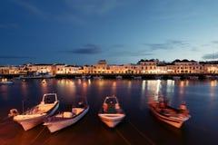 Tavira, Algarve, Portugal. Fishing boats at the bank on the Gilao River in the Old Town of Tavira, Algarve, Portugal stock photo