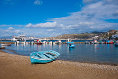Fishing boats in the Bay of Chora Mykonos Stock Photos