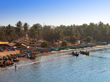 fishing boats in a bay in the Gokarna on January 31, 2014 in Karnataka, India. Stock Images