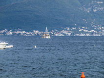 Fishing boats in the Bay of Kotor. Bay of Kotor - hills - fishing boats - summer - tranquil scene Stock Images