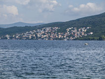 Fishing boats in the Bay of Kotor. Bay of Kotor - hills - fishing boats - summer - tranquil scene Royalty Free Stock Image