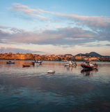 Fishing boats in the bay near Methoni, Peloponnese, Greece Stock Photos