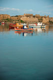 Fishing boats in the bay near Methoni, Peloponnese, Greece Stock Images