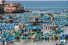 Fishing boats in the Bay of Santa Rosa in Ecuador Royalty Free Stock Photos