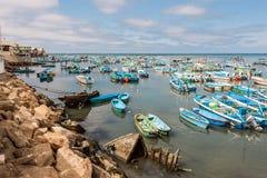 Fishing boats in the Bay of Santa Rosa in Ecuador Royalty Free Stock Images