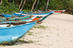 Fishing boats on beach Stock Image