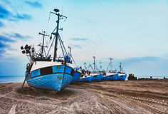Fishing boats at the beach Royalty Free Stock Photography