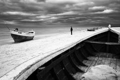 Fishing boats on beach Stock Photo