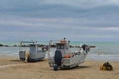 Fishing boats. On the beach Royalty Free Stock Image