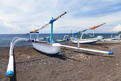 Fishing Boats on Beach, Amed, Bali, Indonesia Stock Photo