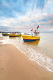Fishing boats on the beach of Baltic Sea. In Poland Stock Photography