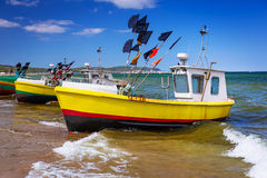 Fishing boats on the beach of Baltic Sea. In Poland Royalty Free Stock Photos