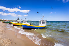 Fishing boats on the beach of Baltic Sea Stock Images