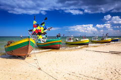 Fishing boats on the beach of Baltic Sea Royalty Free Stock Photos