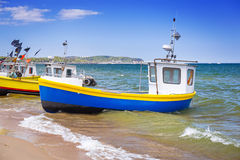 Fishing boats on the beach of Baltic Sea. In Poland Stock Image