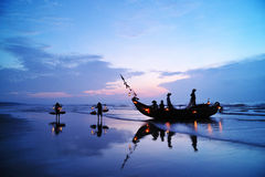 Fishing Boats. In Beach in Early Morning stock photography
