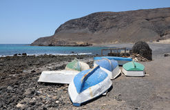 Fishing boats on the beach, Fuerteventura Royalty Free Stock Images