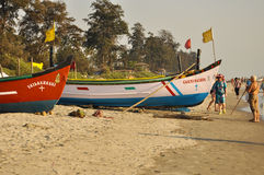 Fishing boats on the beach of Goa Stock Photos
