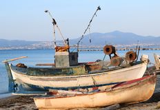 Fishing boats at the beach in Greece. Greek summer tradition Royalty Free Stock Photography