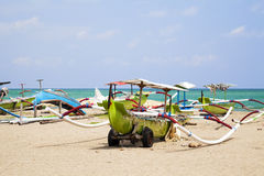 Fishing Boats on Beach, Kuta, Bali, Indonesia Royalty Free Stock Photography