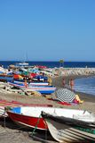 Fishing boats on the beach, Marbella. Royalty Free Stock Images