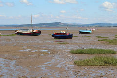 Fishing Boats on Beach at Morecombe. Fishing Boats on Morecombe  Beach Mud Stock Photography