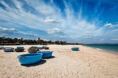 Fishing boats on beach. Mui Ne, Vietnam Stock Photo