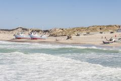 Fishing boats on the beach - Norre Vorupor, Denmark royalty free stock image